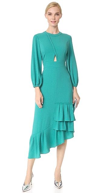 Tibi Cutout Ruffle Dress