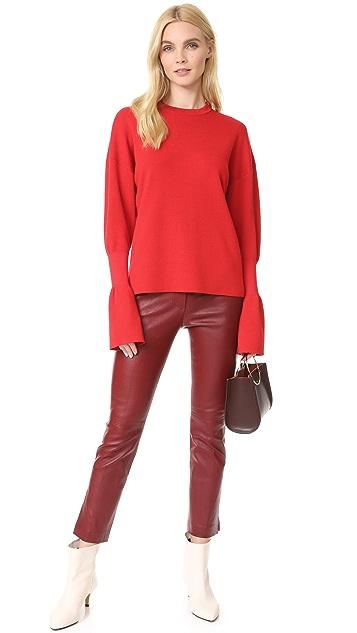 Tibi Rib Detail Sleeve Easy Pullover