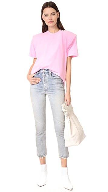 Tibi Easy Tee with Shoulder Pads