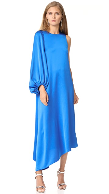 Tibi Celestia One Sleeve Bias Dress