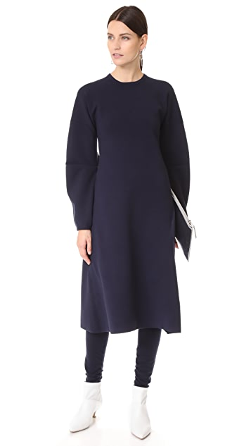 Tibi Sculpted Wool Dress with Zip Detail