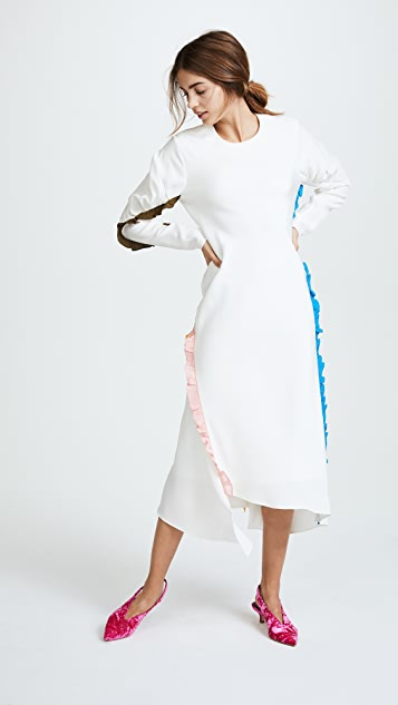 Tibi Midi Ruffle Dress