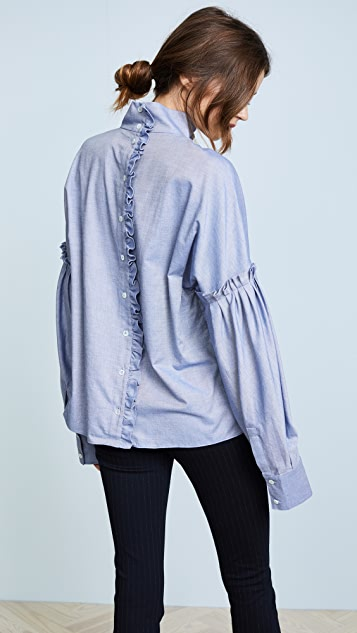 Tibi Mini Ruffle Top
