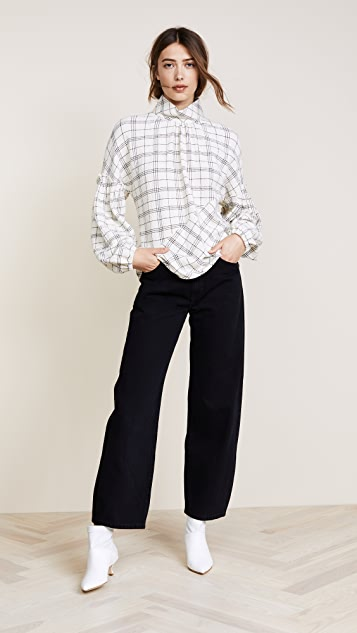 Tibi Mini Ruffle Sleeve Check Top