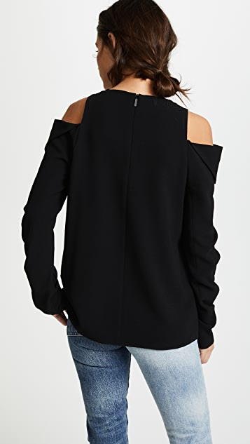 Tibi Open Shoulder Shirred Sleeve Top