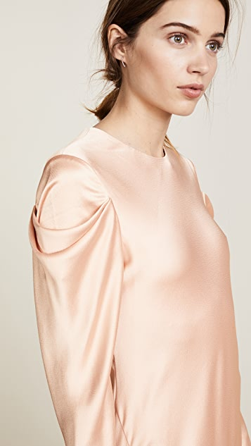 Tibi Drape Sleeve Satin Dress