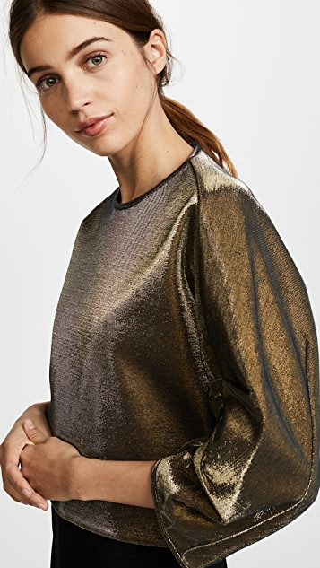 Tibi Sculpted Shirred Sleeve Top