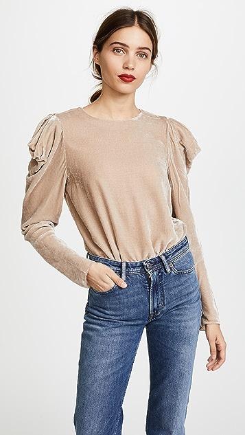 Tibi Velvet Drape Sleeve Top