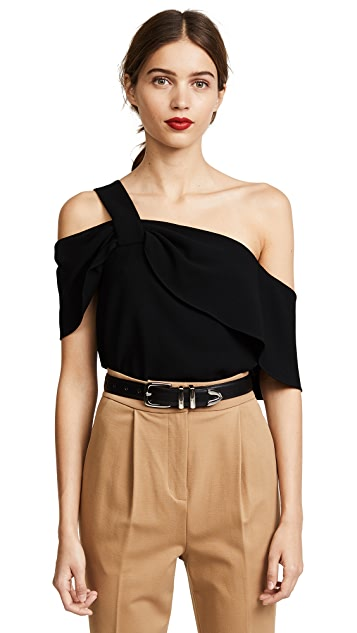 Tibi One Shoulder Draped Top