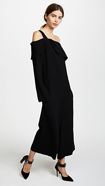 Tibi One Shoulder Draped Jumpsuit