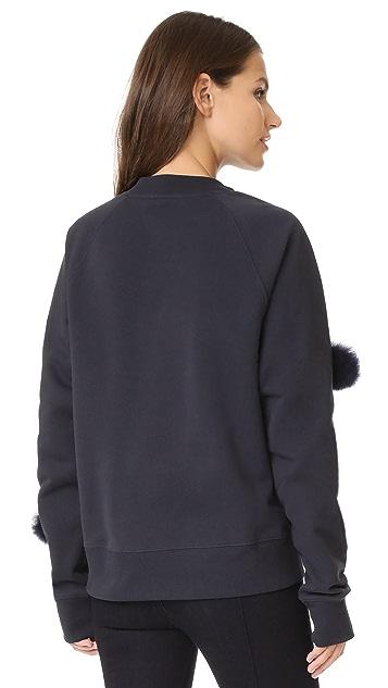 Tibi Cropped Pom Pom Sweatshirt