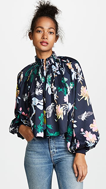 Tibi Gothic Floral Cropped Edwardian Top