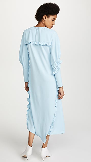 Tibi Ruched Long Sleeve Ruffle Dress