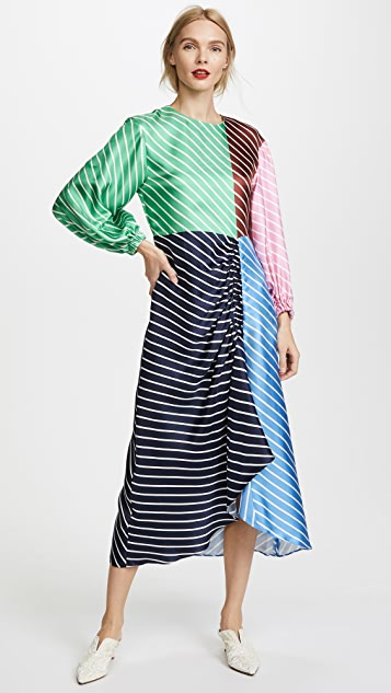 Tibi Delphina Stripe Shirred Long Dress