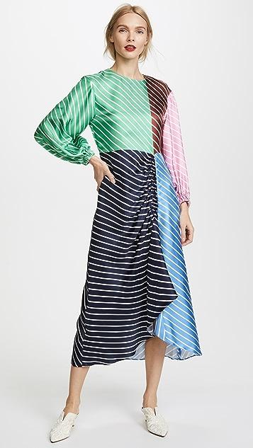 Tibi Delphina Stripe Shirred Long Dress