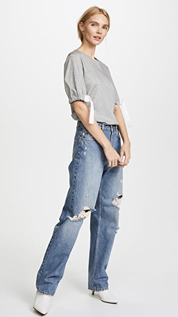 Tibi Shirred Balloon Sleeve Tee