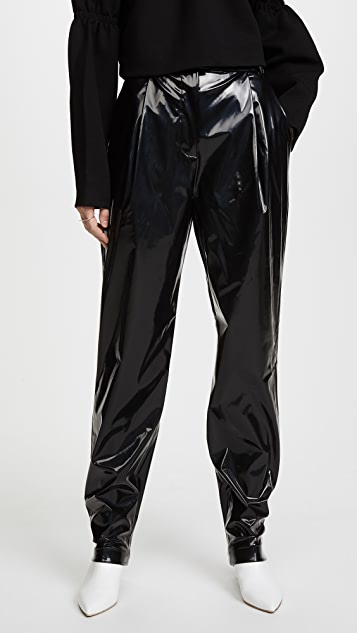 Tibi Patent Sculpted Pleat Pants
