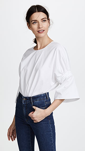 Tibi Shirred Sleeve Top - White