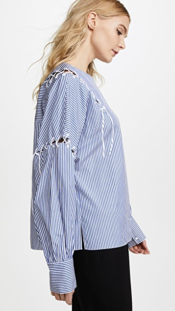 Tibi Long Sleeve Tie Top