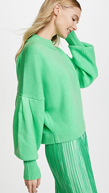 Tibi Pleated Sleeve Cropped Cashmere Pullover