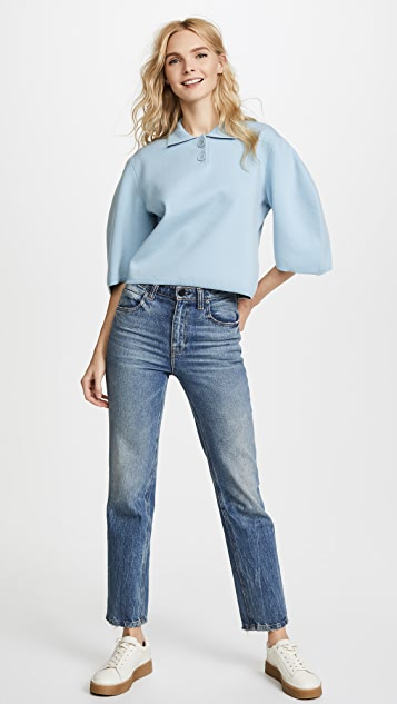 Tibi Sculpted Sleeve Polo Sweater