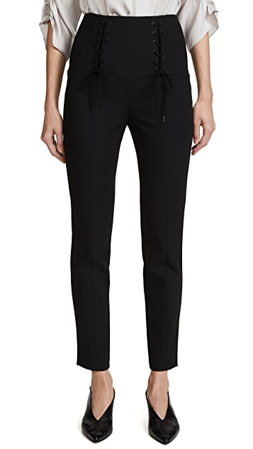 Tibi High Waisted Skinny Tie Pants