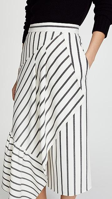 Tibi Asymmetrical Ruffle Skirt