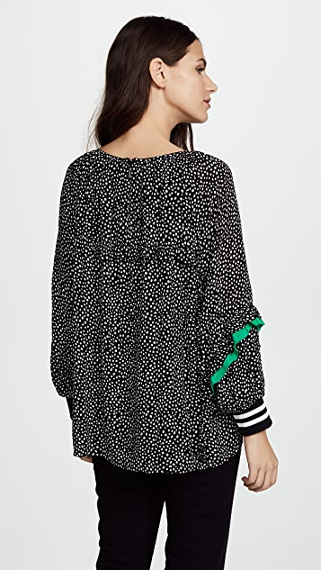 Tibi Ruffle Shirred Neck Top
