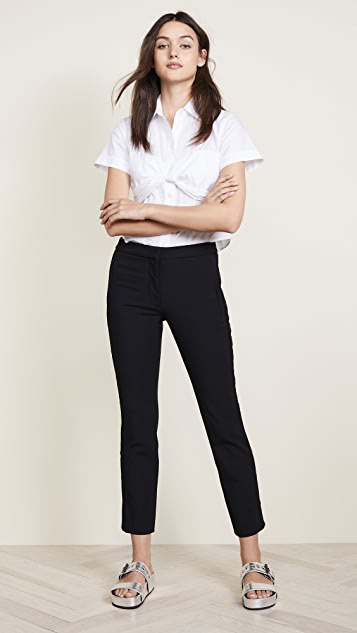 Tibi Anson Stretch Cropped Snap Skinny Pants