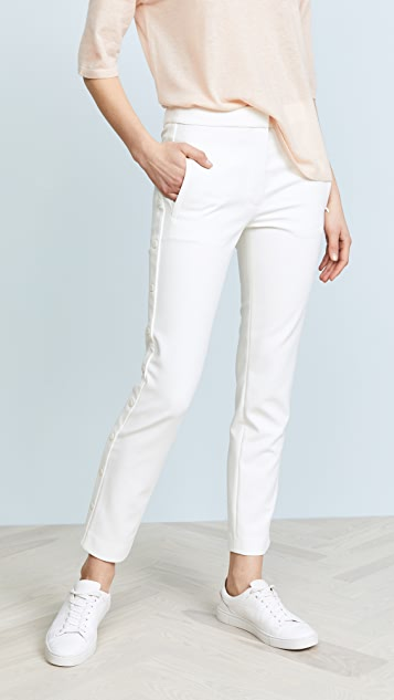 Tibi Anson Stretch Cropped Snap Skinny Pants - Ivory