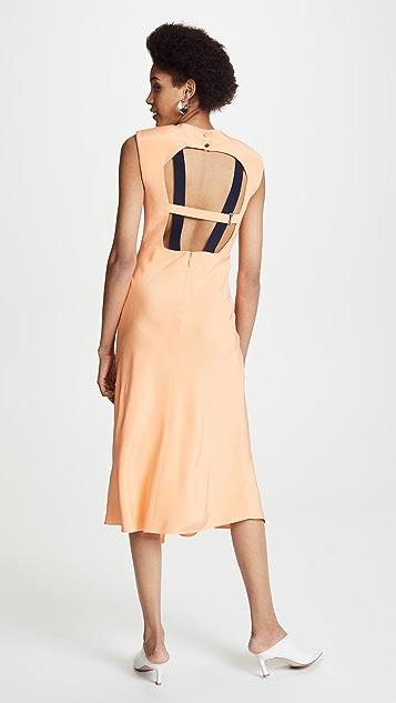 Tibi Open Back Bias Dress - Apricot/Navy Multi
