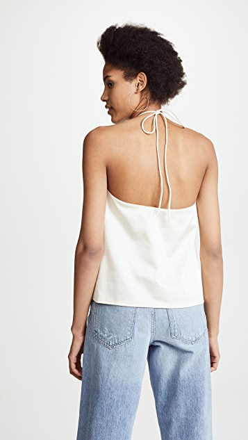 Tibi Shirred Halter Tank