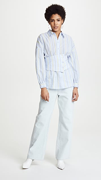 Tibi Corset Shirt With Removable Belt