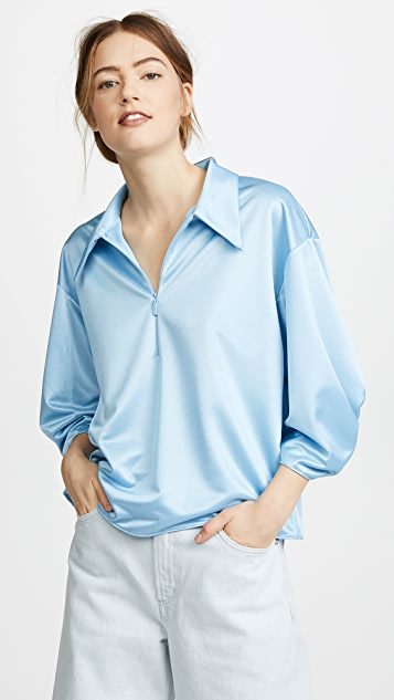 Tibi Tech Pique Zip Collar Top