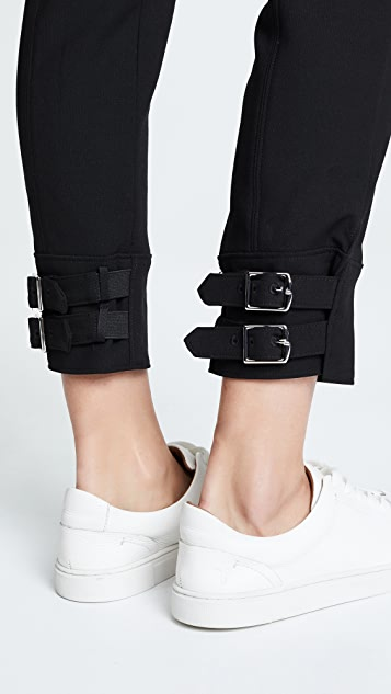 Anson Stretch Skinny Pants With Buckles by Tibi