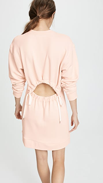 Tibi Open Back Sweatshirt Short Dress