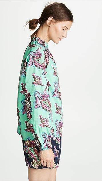Tibi Shirred Neck Shirt
