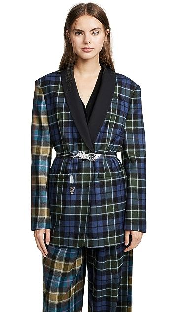 Tibi Tartan Oversized Tuxedo Blazer with Belt