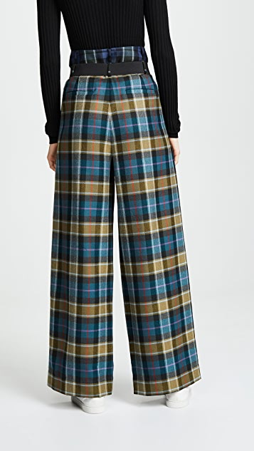 Tibi Tartan Pleated Pants with Belt