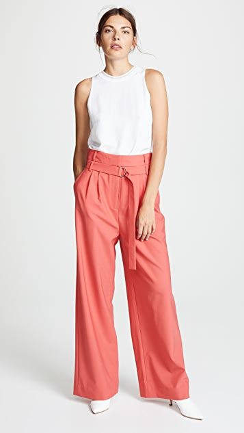 Tibi Stella Pleated Pants with Belt