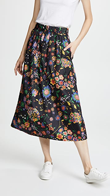 Tibi Smocked Floral Skirt