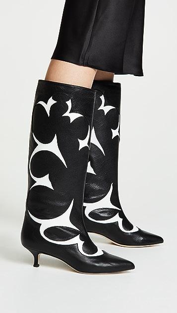 Tibi Jagger Boots - Black/White Multi