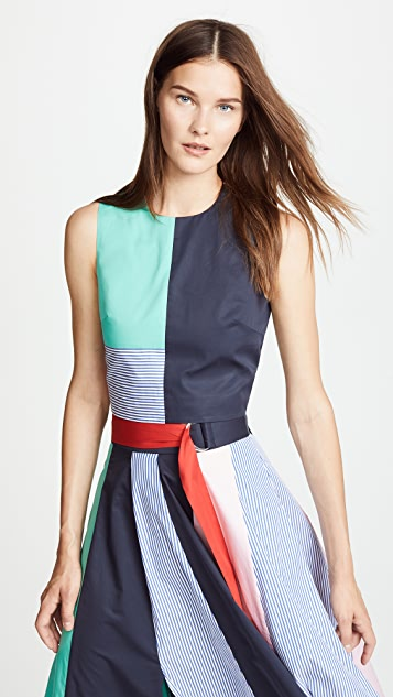 Tibi Colorblock Tie Back Top