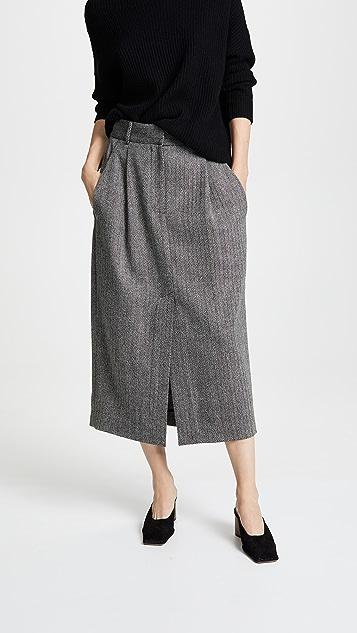 Tibi Pleated Pencil Skirt