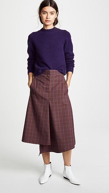 Tibi Tech Check Pencil Skirt