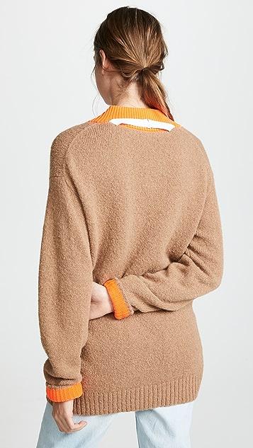 Tibi Deep V Neck Alpaca Pullover