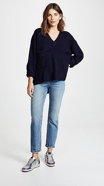 Tibi Deep V Cashmere Pullover