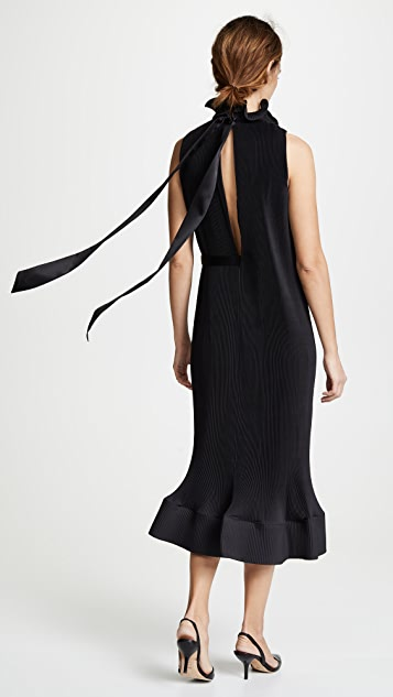 Tibi Pleated Belted Sleeveless Dress
