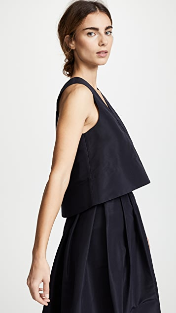Tibi Back Tab Sleeveless Crop Top