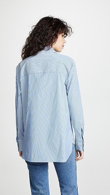 Tibi Рубашка с асимметричным воротником с завязкой